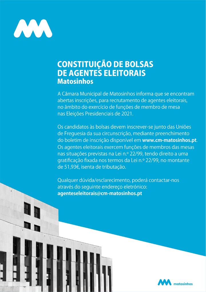 Constituição de Bolsas de Agentes Eleitoriais - Matosinhos